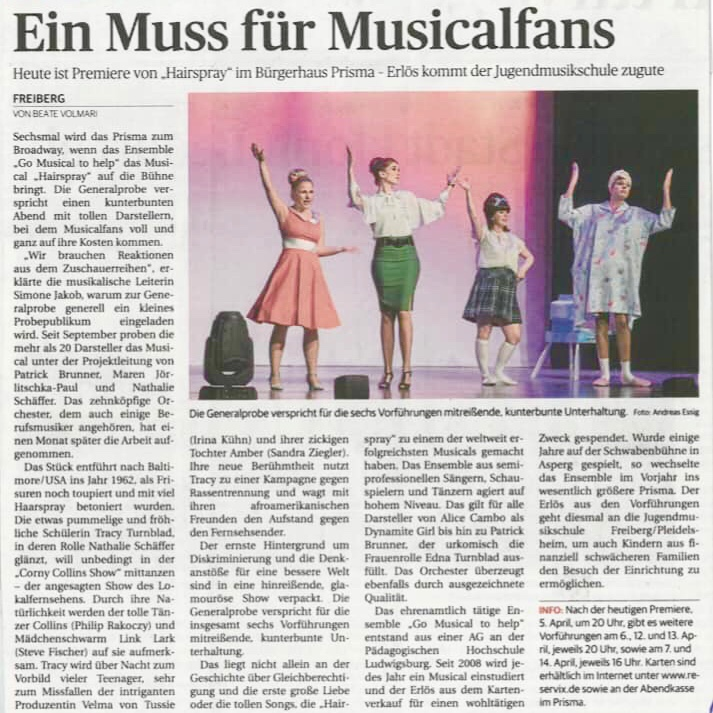 Musicalsängerin Irina Kühn im Musical Hairspray